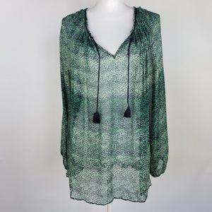 Calypso St. Barth V-Neck Silk Peasant Tassel Tunic